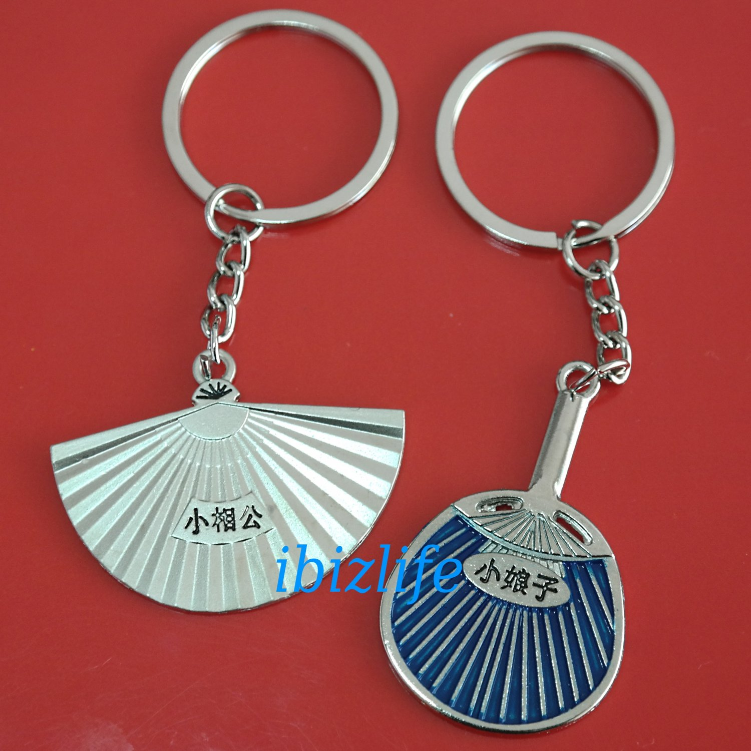 Metal keychain / Keyrings with a pair Japanese cultural fans indicating Husband and Wife (kc21)