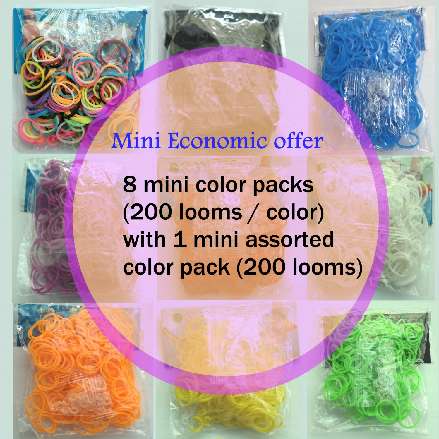 RAINBOW LOOM RUBBER BAND REFILL 8-color packs with 1 assorted color pack (total 1800 bands)-RL27