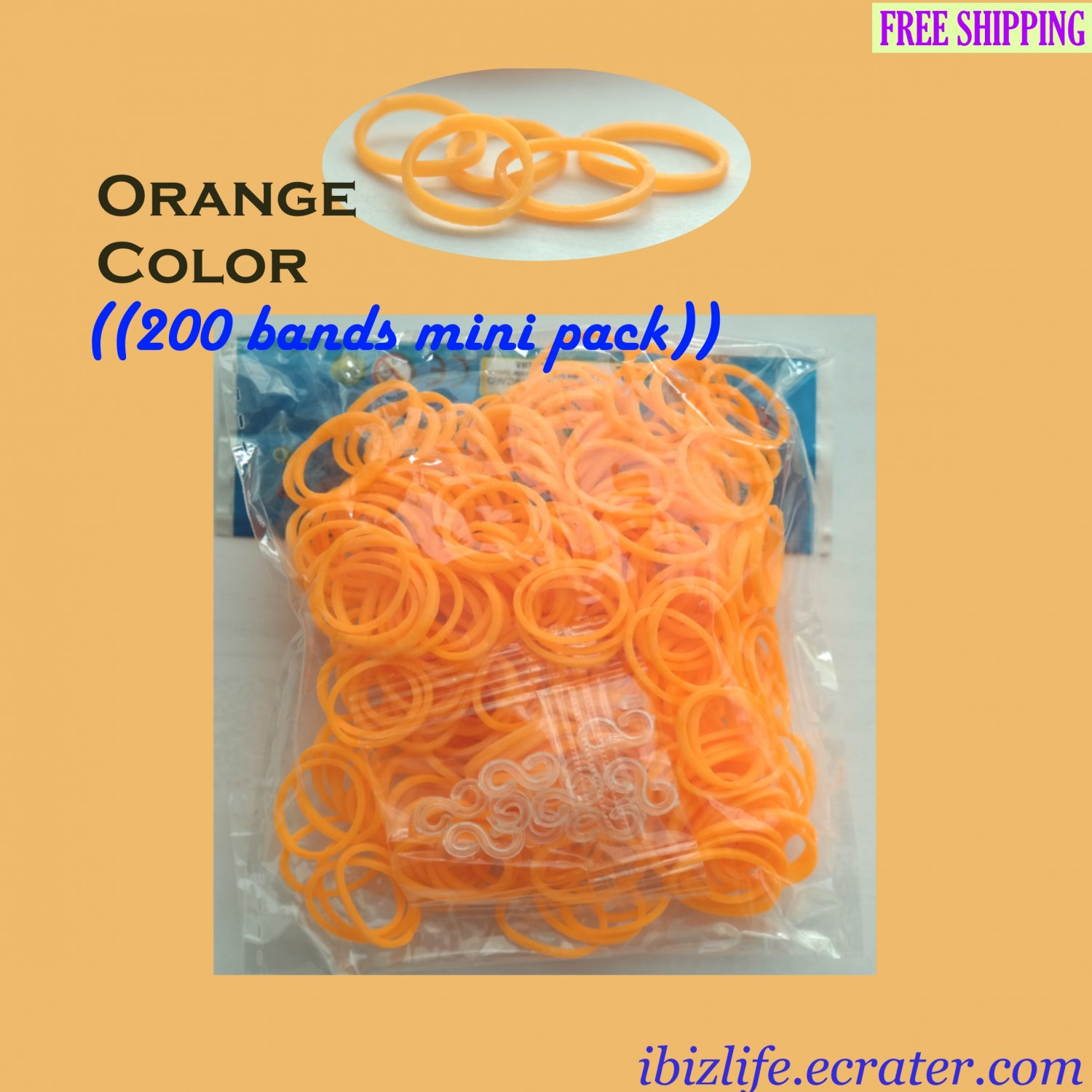 RAINBOW LOOM RUBBER BAND REFILL with 200 bands (Orange color) & 12 Clips (RL43)
