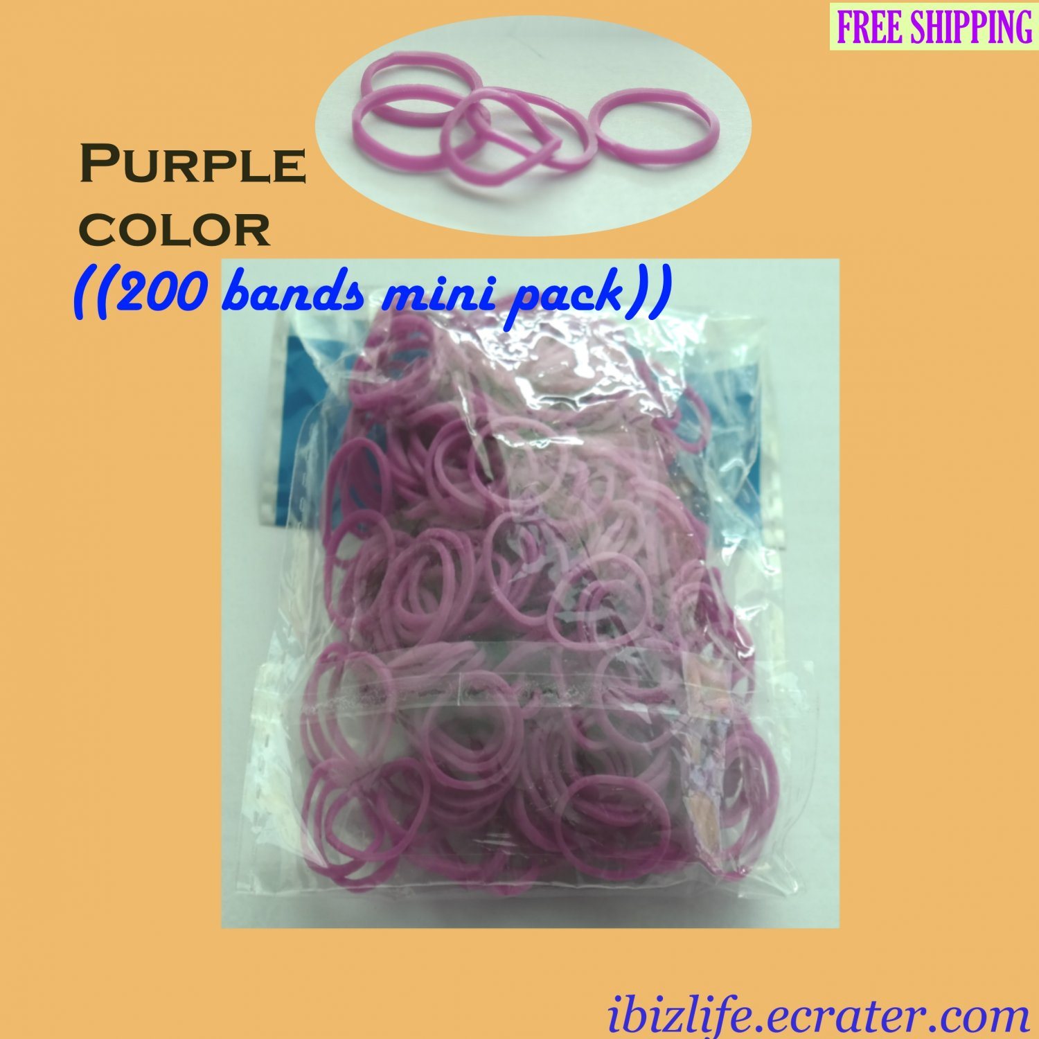 RAINBOW LOOM RUBBER BAND REFILL with 200 bands (Purple color) & 12 Clips (RL40)