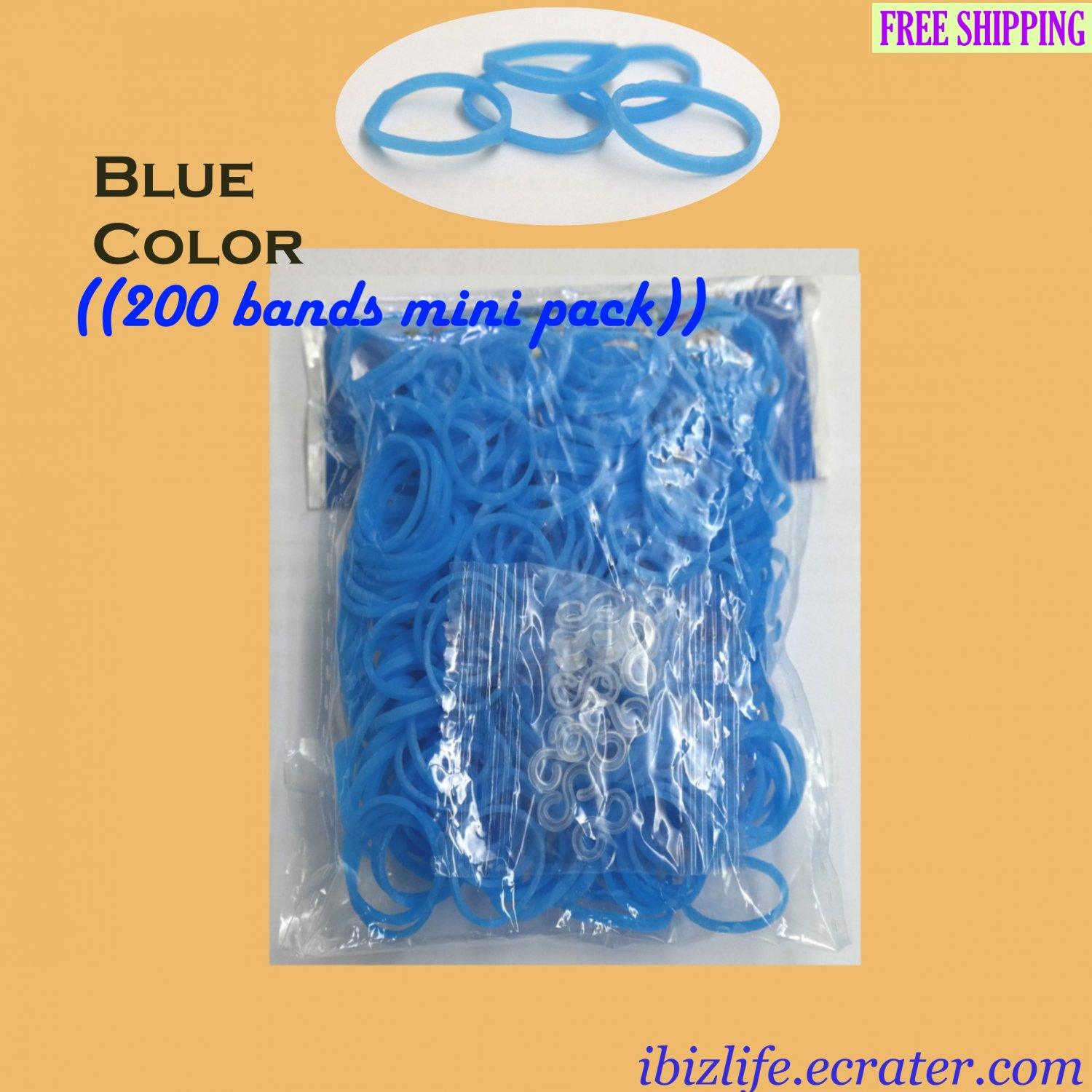 RAINBOW LOOM RUBBER BAND REFILL with 200 bands (Blue color) & 24 Clips (RL39)