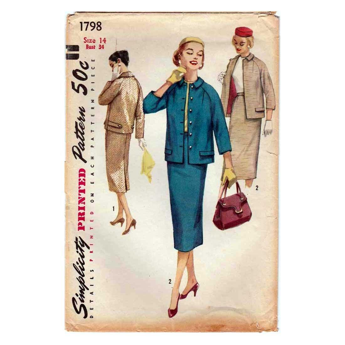 50's Women's Suit Pattern, Slim Skirt and Jacket, Size 14 Uncut Vintage 1950's Simplicity 1798