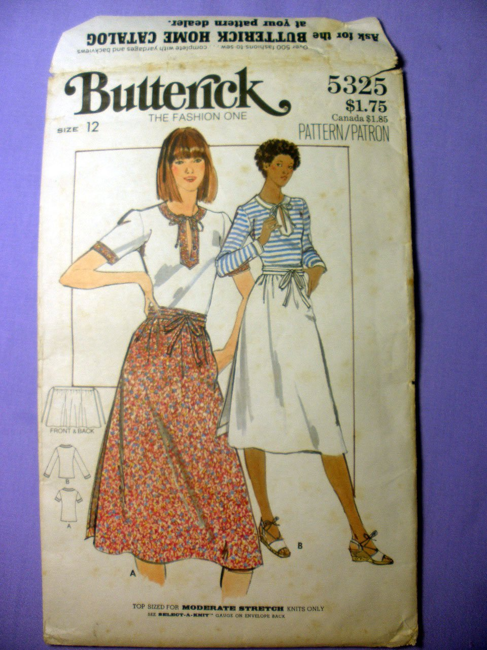 Women's Wrap Skirt and Fitted Top Pattern, Size 12 Vintage 1970's Butterick 5325