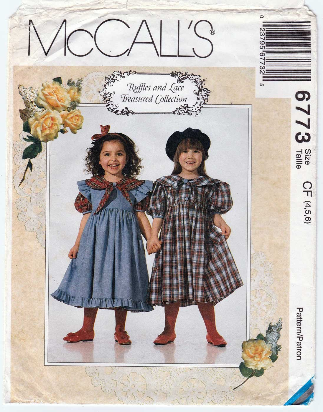 Girl's Dress and Pinafore Sewing Pattern, Child Size 4-5-6 Uncut McCall's 6773