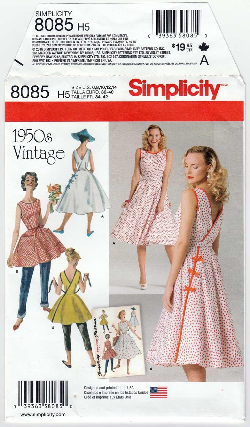 Vintage 1950's Style Wrap Dress Sewing Pattern Size 6-8-10-12-14 UNCUT Simplicity 8085