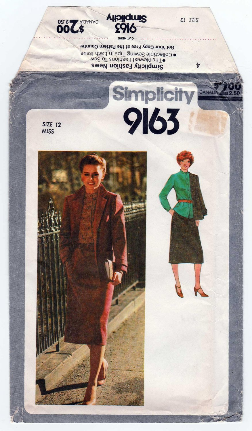 Simplicity 9163 Women's Skirt, Blouse and Lined Jacket Sewing Pattern Misse's Size 12 Uncut