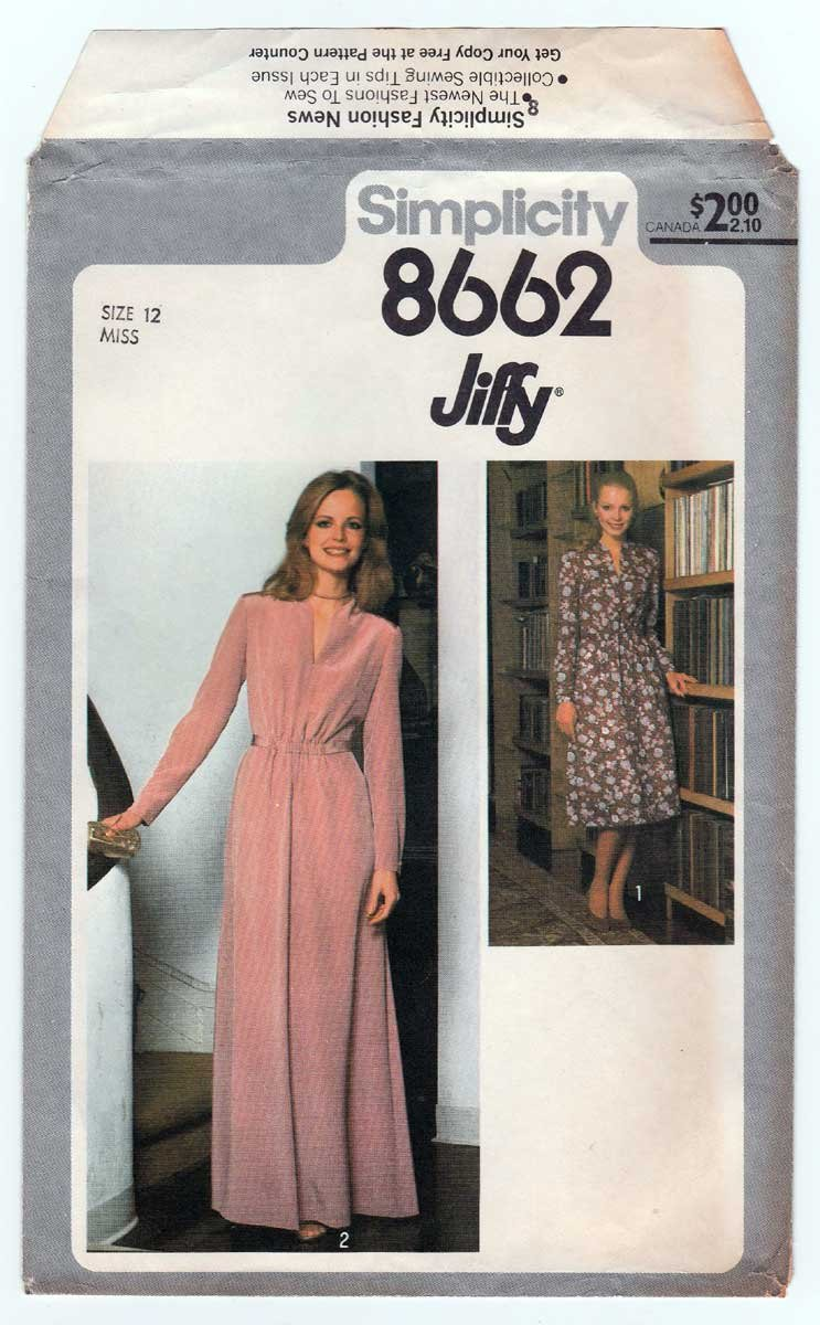 Simplicity 8662 UNCUT Vintage 70's Evening Length Dress Sewing Pattern, Long Sleeves Size 12