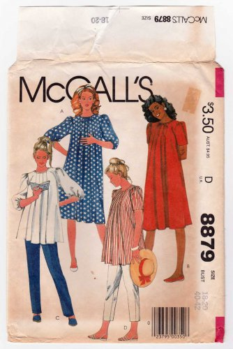 d72c50baec0d7 McCall's 8879 UNCUT Maternity Dress or Top and Pants Sewing Pattern, Misses  Size 18-20