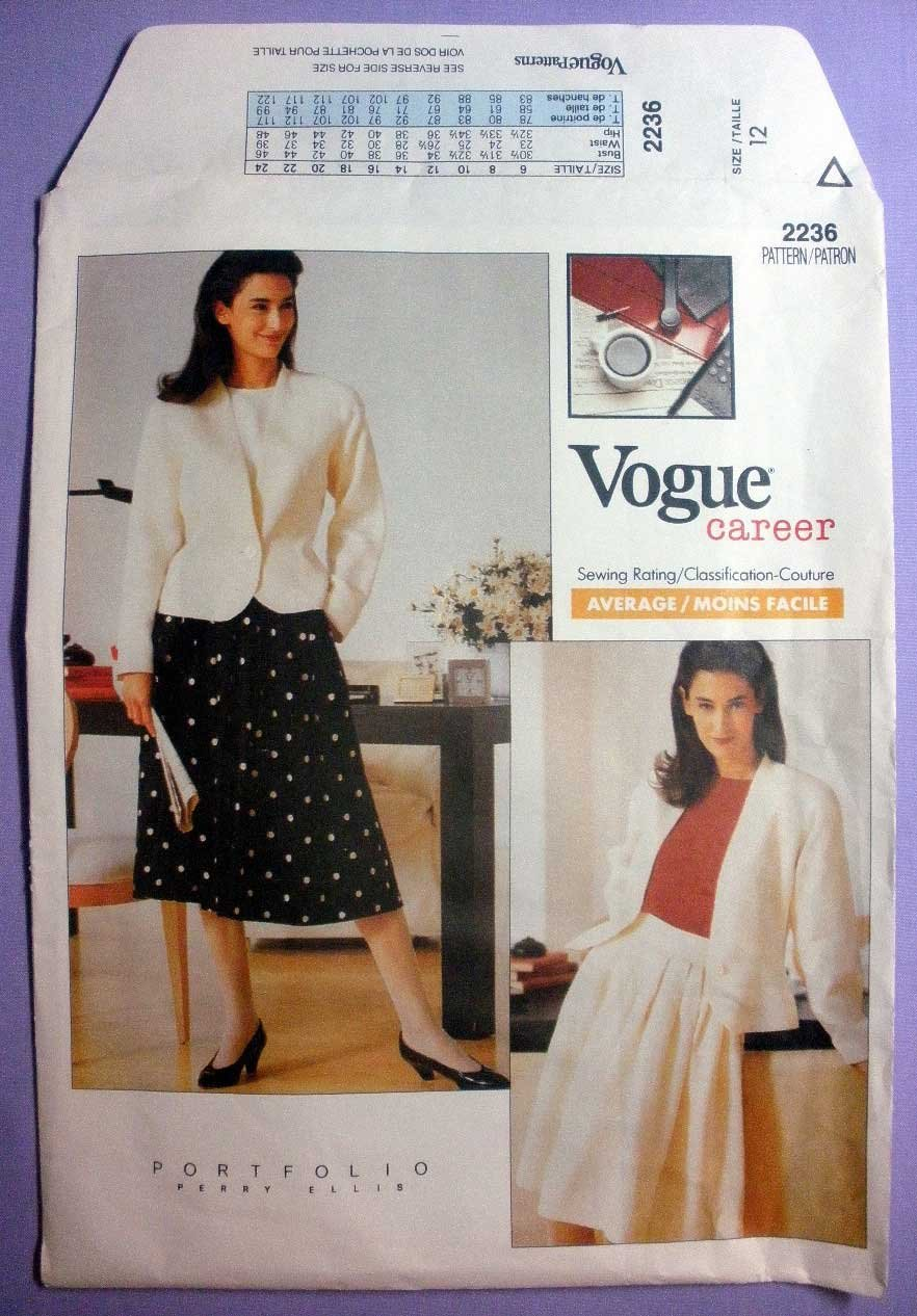 Vogue 2236 UNCUT Women's Career Jacket and Skirt Sewing Pattern, Perry Ellis, Misses Size 12 Bust 34