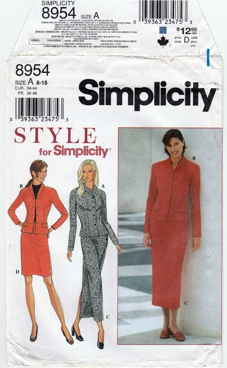Women's Jacket and Straight Skirt Sewing Pattern Misses Size 8-10-12-14-16-18 UNCUT Simplicity 8954