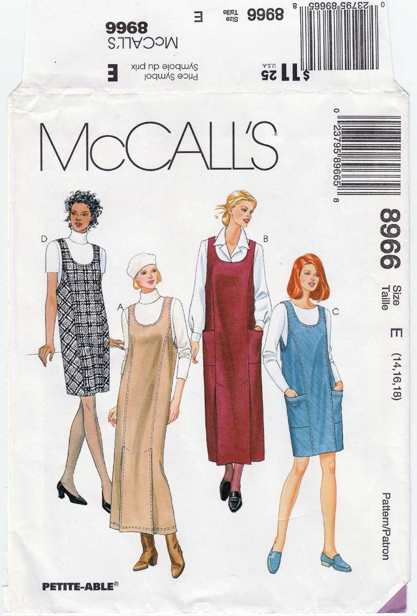 Women's Jumper in Two Lengths Sewing Pattern Misses' Size 14-16-18 UNCUT McCall's 8966