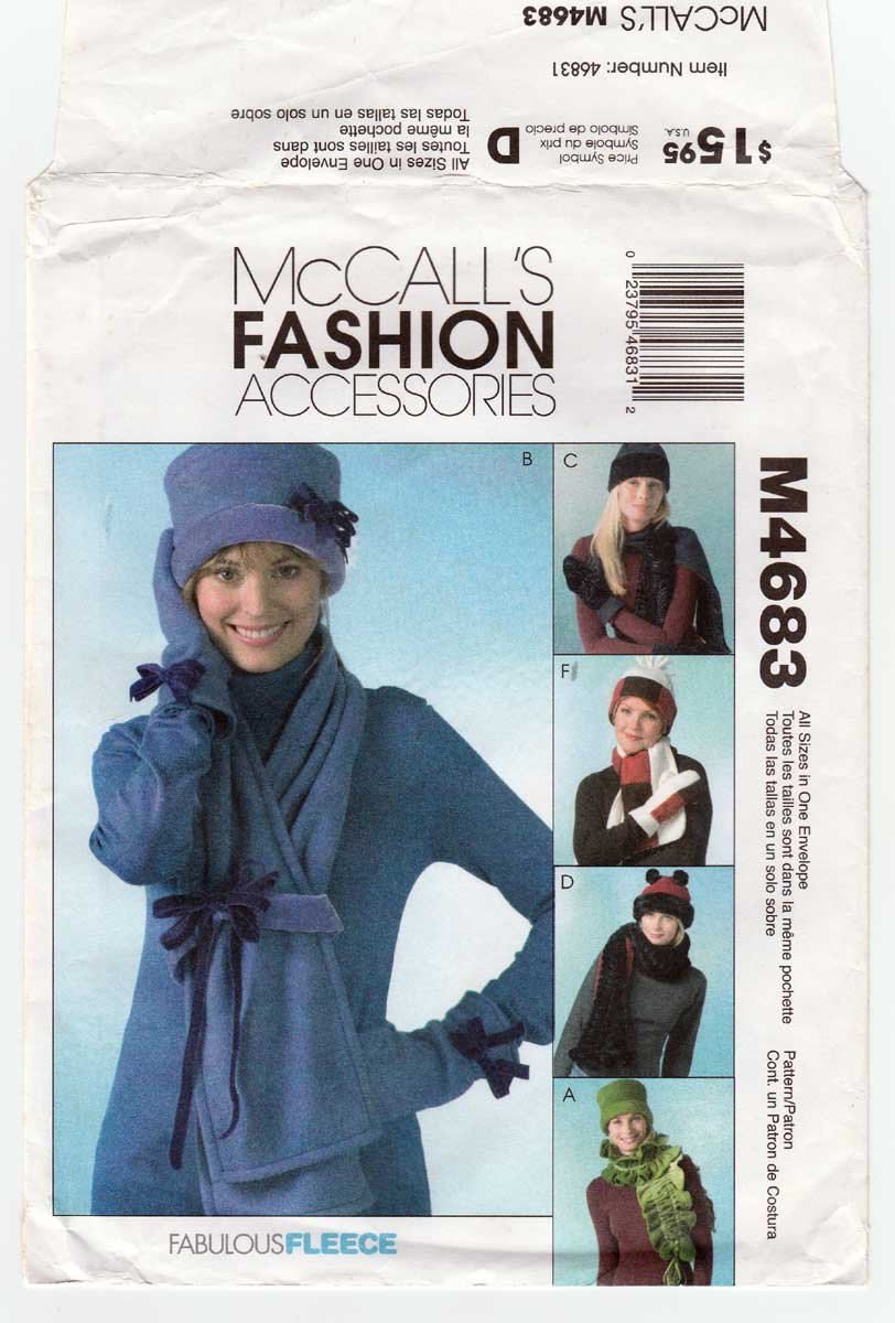Women's Hats, Scarves and Mittens Sewing Pattern Size Small - Large UNCUT McCall's M4683 4683