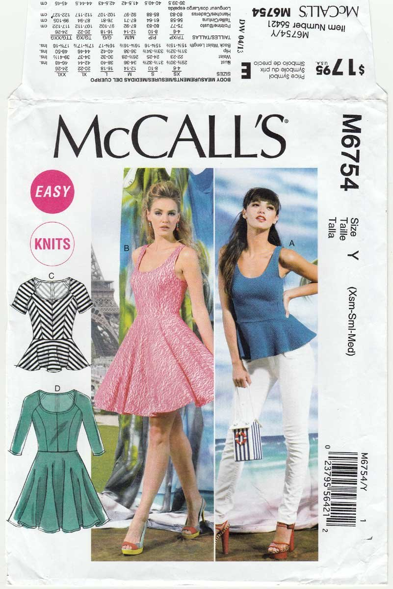 Women's Top and Dress Sewing Pattern Misses' Size 4-6-8-10-12-14 UNCUT McCall's M6754 6754