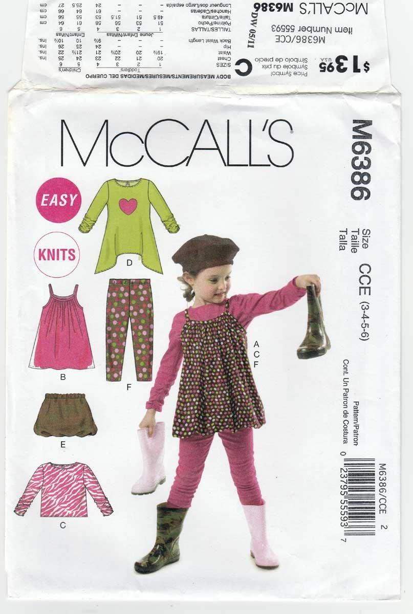 Toddler/Children's Jumper, Tops, Skirt, Leggings Sewing Pattern Size 3-4-5-6 UNCUT McCall's M6386