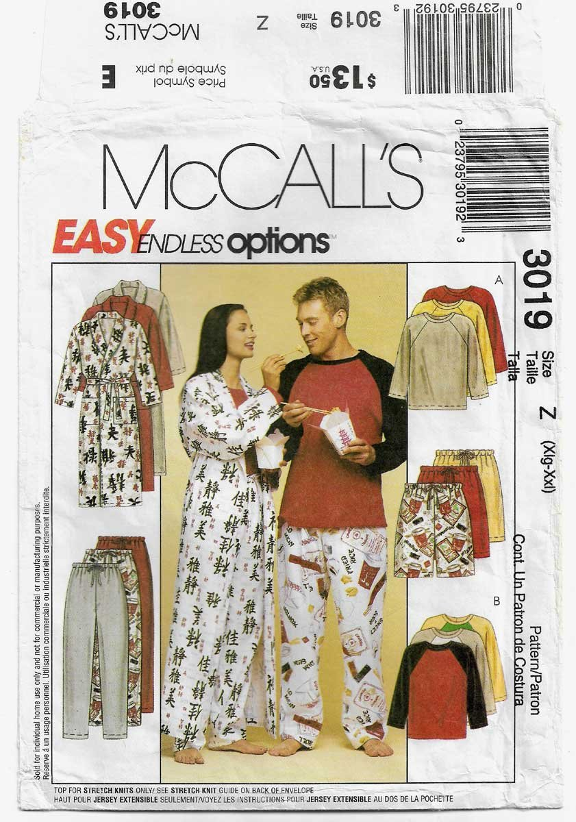 Robe, Pajamas Men / Women's Sleepwear Pattern, Size Xlg - XXL Bust/Chest 42-48 UNCUT McCall's 3019