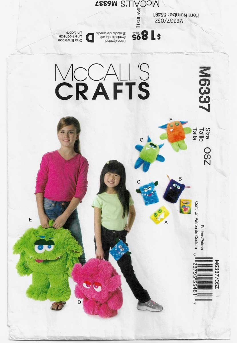 Monster Backpack, Tissue and Crayon Cases, Plush Stuffed Toys Pattern UNCUT McCall's M6337 6337