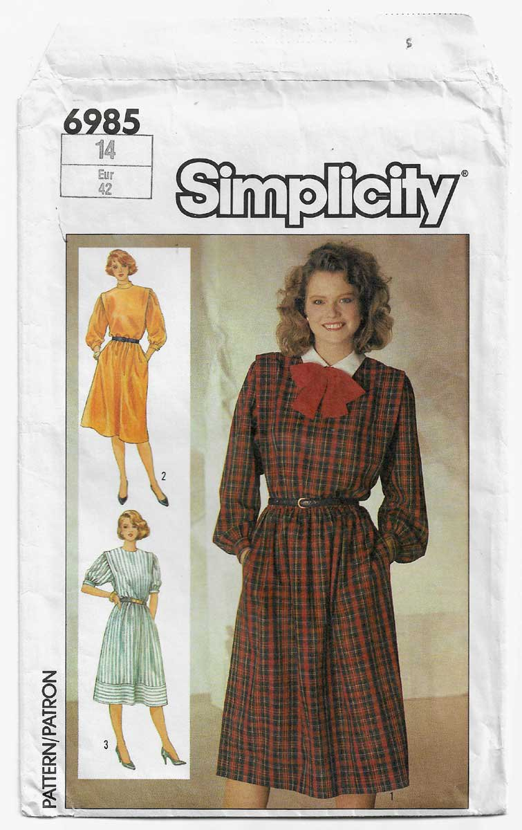 Women's Pullover Dress Sewing Pattern Size 14 UNCUT Vintage Simplicity 6985