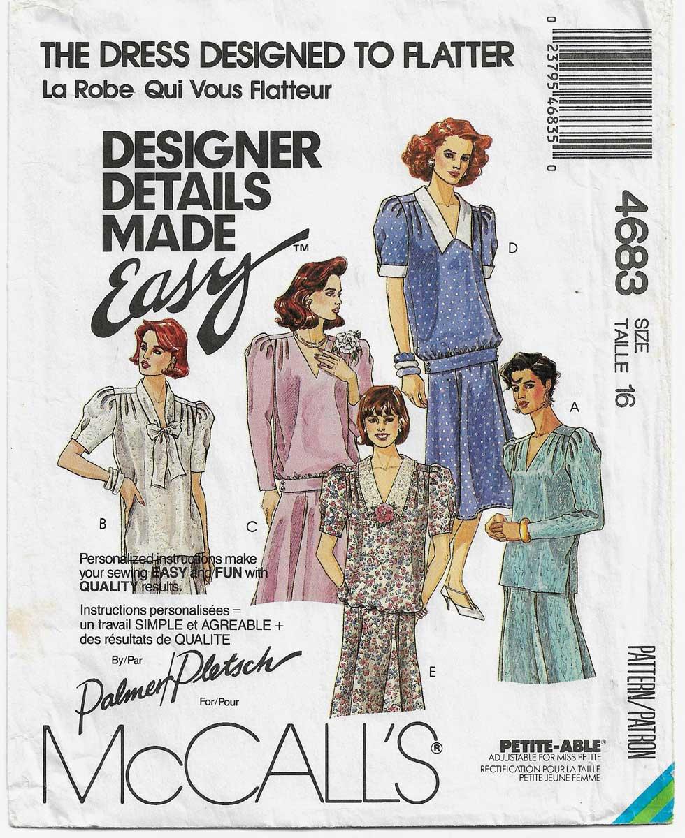 Women's Two Piece Dress with Trumpet Skirt Sewing Pattern Misses' Size 16 UNCUT McCall's 4683