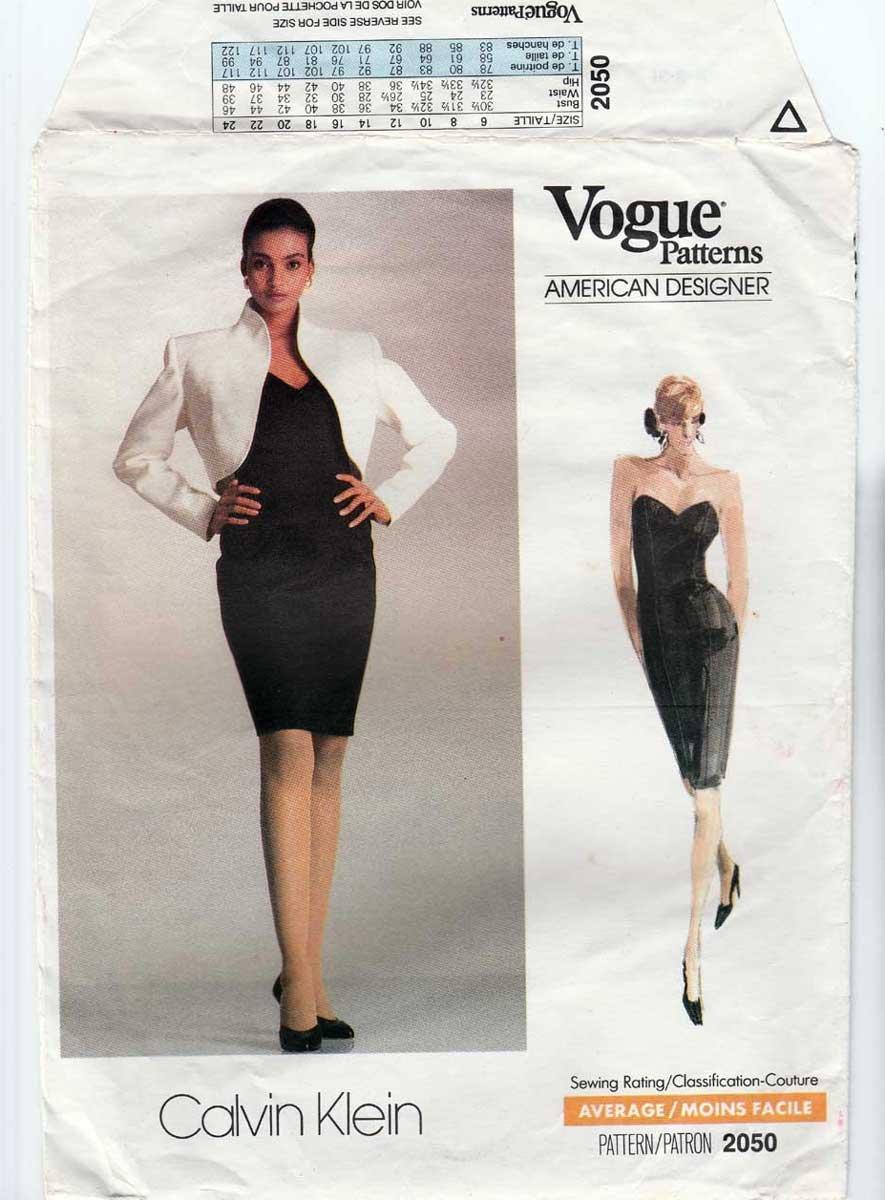 Designer Calvin Klein, Strapless Dress, Bolero Jacket Sewing Pattern, Size 6-8-10 UNCUT Vogue 2050