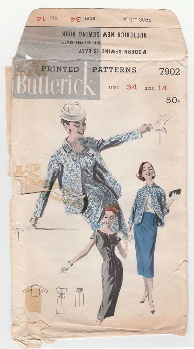 Vintage 1950's Sheath Dress, Jacket and Skirt Sewing Pattern Misses Size 14 Bust 34 Butterick 7902
