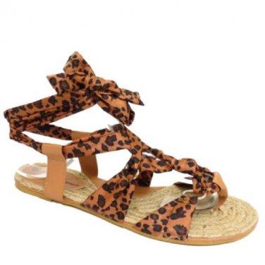 Girls Women Tie-Up Strap Brown Animal Prints Flat Sole Sandals Size 6