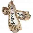 Kids Girls Beige Animal Print Bow Ballerina Rubber Casual Shoe Size UK Kid 1
