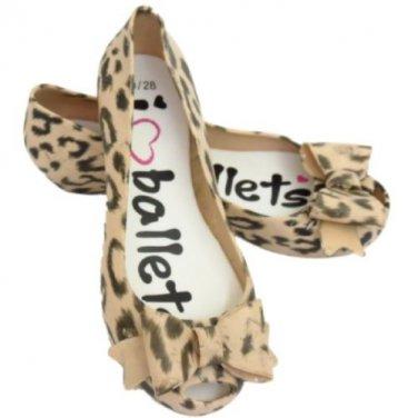 Kids Girls Beige Animal Print Bow Ballerina Rubber Casual Shoe Size UK Kid 1