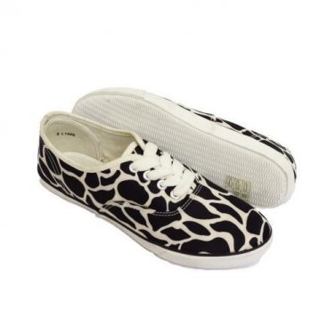 Girls Lace-Up Animal Print Black White Canvas Plimsoll Pumps Ladies Size UK 3