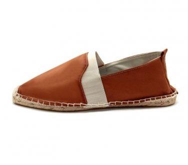 Mens Boys Tan Leather Look Espadrilles Pumps Flat Casual Slip-On Shoe Size UK 8