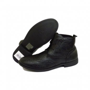 Men BLACK Faux Leather MILITARY STYLE Lace-Up Work Office ANKLE Shoe UK 6
