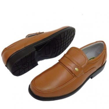 Mens Brown Smart Formal Wedding Slip On Faux Leather Shoe size UK 10