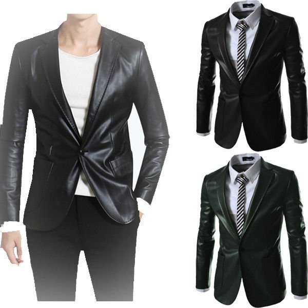 Men Solid Color Slim Fit Leather Blazer-Small