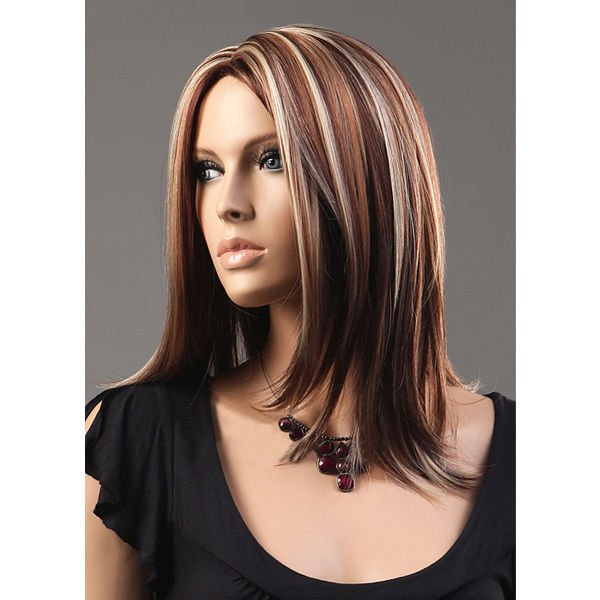 "17"" Kanekalon Middle Parted Long Straight Highlight Synthetic Wig"
