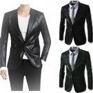 Men Solid Color Slim Fit Leather Blazer-Large