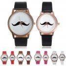 Fashion Mustache Quartz Wrist Leather Band