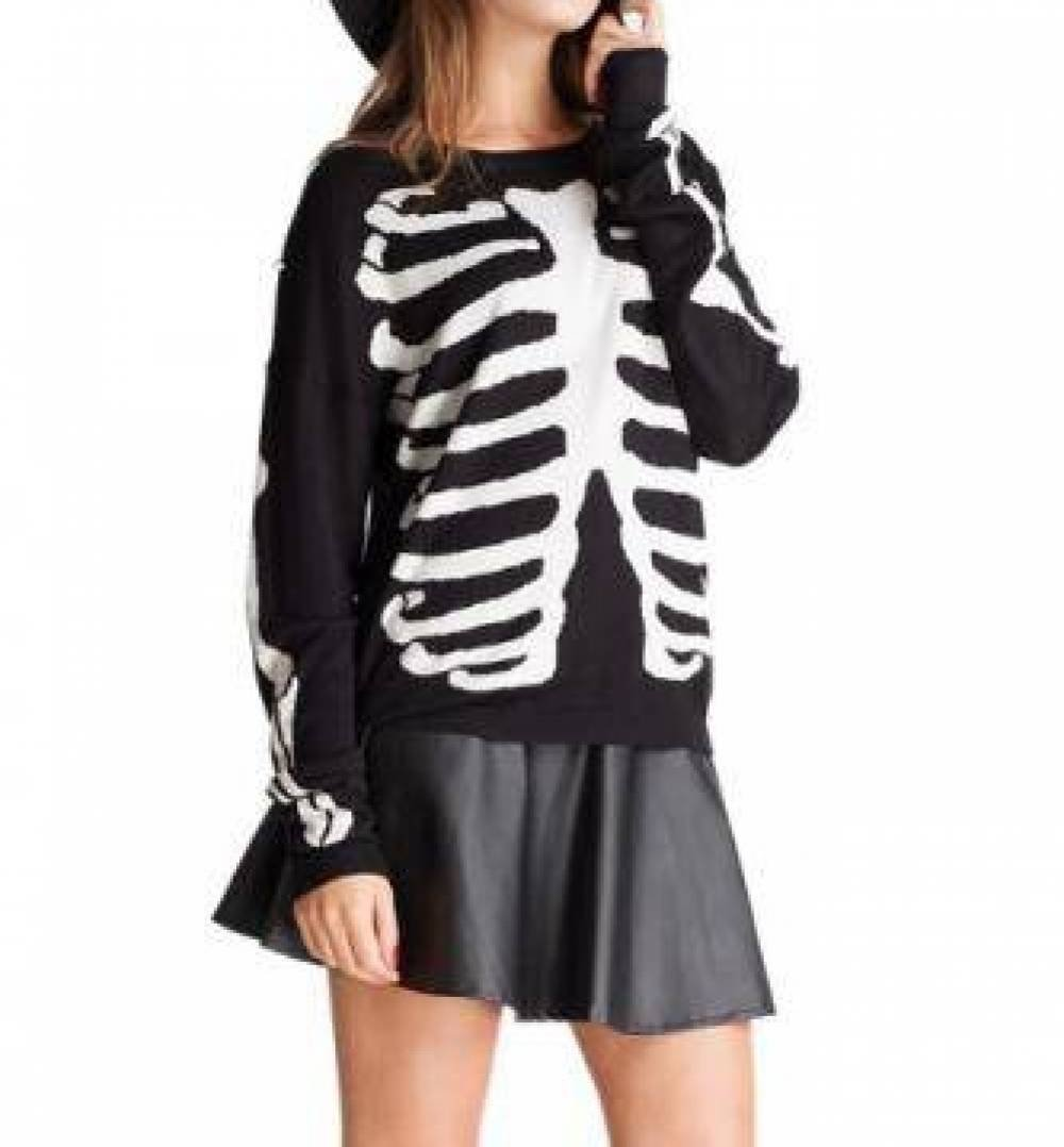 Women Black Knit Casual Skull Bone Cotton Pullover Sweater-Medium