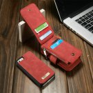 Magnetic Leather Multi Function Wallet Card Flip Case Cover For iPhone 5 5S Red