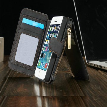 Magnetic Leather Multi Function Wallet Card Flip Case Cover For iPhone 5 5s Black