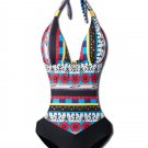 Halter Hollow Spliced Printed Bohemia Padded One-Piece Swimsuit Beachwear (XL)