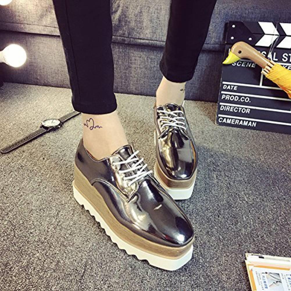 Women Shiny Lace Up Flats Double Platform Shoes