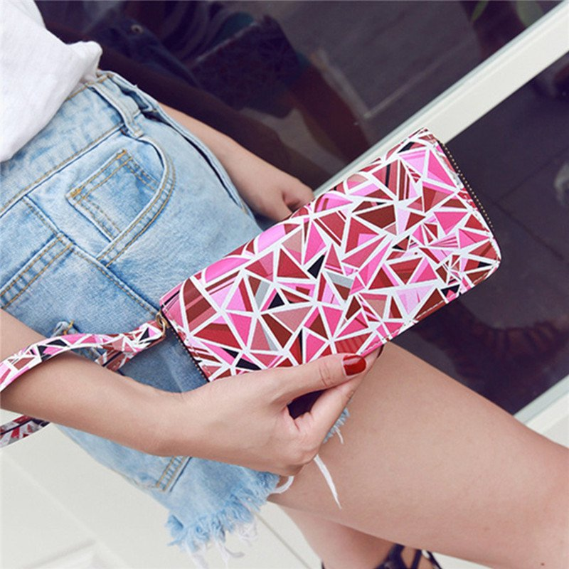 Women Functional Phone Leather Wallet Card Holder Pink Case for iPhone 5.5 Inches Smartphone