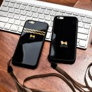 Bowknots Pattern Lanyard Case Soft Silicone Mirror Cover Shell For iPhone 6/6S