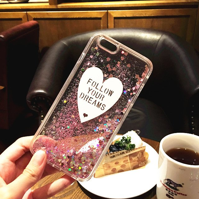 """Glitter Liquid Heart  Pink Glitter Crystal Clear Case Cover For iPhone 6/6s 5.5"""""""