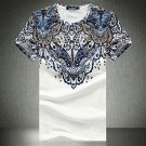 Ethnic Printing Slim Fit Plus Size O-neck Men's Fashion Summer Casual Short Sleeve T-shirt- Medium