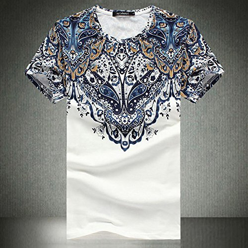 Ethnic Printing Slim Fit Plus Size O-neck Men's Fashion Summer Casual Short Sleeve T-shirt- XL
