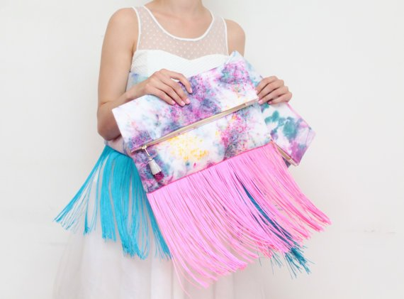 Custom Vegan Pink Leather Large dyed cotton fold over clutch bag with long fringes