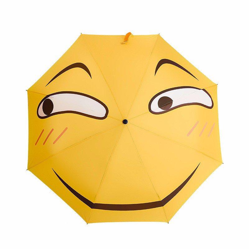 Creative Folding Funny Emoji Expression Face Rainy Sunny Short Umbrella