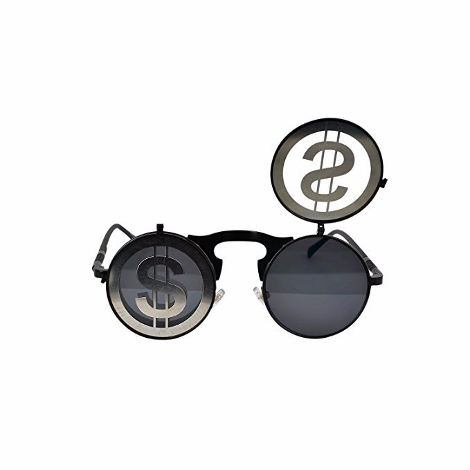 Steam Punk Gothic Vintage Flip Up Round Goggles Personality Glasses For Men Women Unisex #7