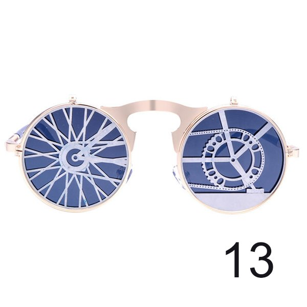 #13 Steam Punk Gothic Vintage Flip Up Round Personality Sunglasses For Men Women Unisex