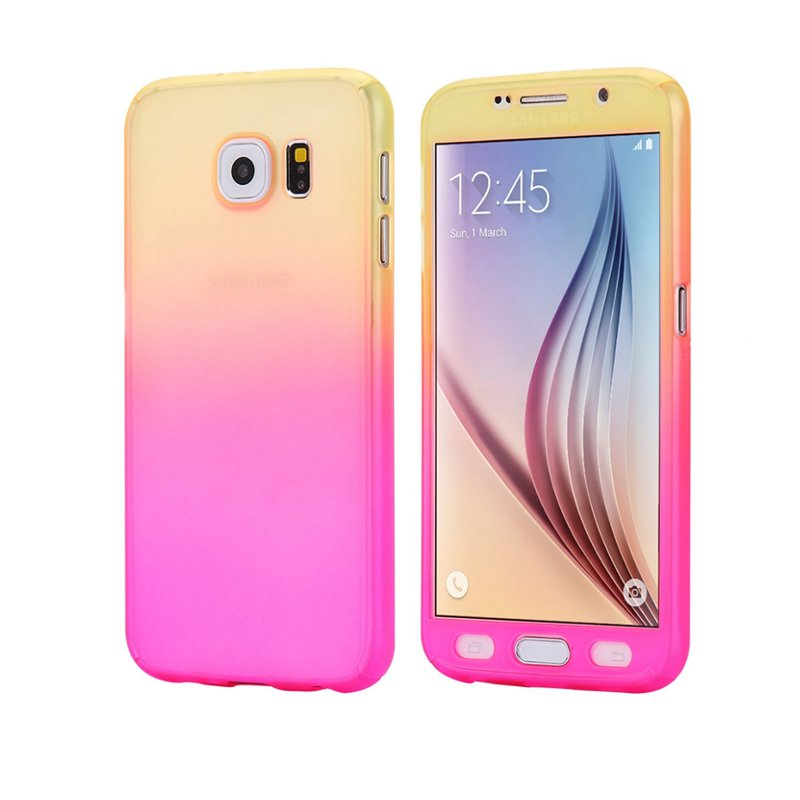 Gradient Color 360° Full Protection Cover Case With Tempered Glass for Samsung Galaxy S7